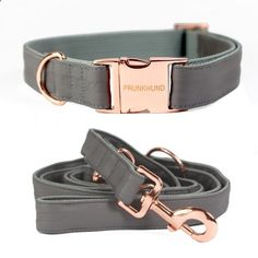 NEW IN! The DUST dog collar and leash in grey and rose gold - www.prunkhund.com