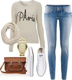 Fall / winter - street & comfy style - white sweater + skinnies + white converse + brown messenger bag