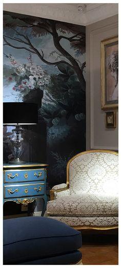 """Showroom Moissonnier ShanghaïPapier peint """"Le jardin au flamant rose """" Ananbô"""