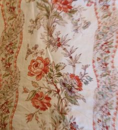 Antique French Roses Violet Lilac Garland Cotton Fabric~coral red lavender aqua