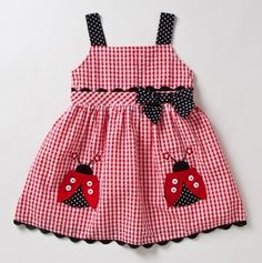 Lady bug dress. Think I'll use the idea but make  an apron instead.