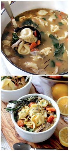 30 Minute One Pot Lemon Chicken Tortellini Soup Recipe
