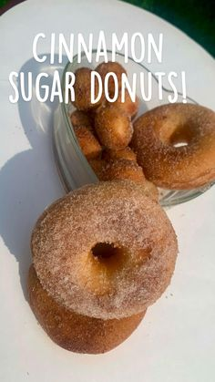 Homemade Baked Donuts, Baked Donut Recipes, Fun Baking Recipes, Sweet Recipes, Dessert Recipes, Easy Donut Recipe, Cinnamon Sugar Donuts, Bisquick, Doughnuts