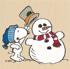 Snoopy adding a hat to a snowman