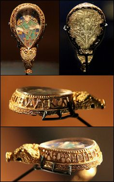 The Alfred Jewel. Anglo-Saxon jewels at the Ashmolean Museum in Oxford.