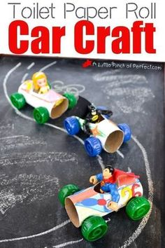 paper roll car craft - recycled kid crafts - acraftylife.com #preschool #craftsforkids #crafts #kidscraft