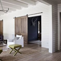 Barn doors are known for their classic look, but these particular options give the room a fresh update. Source: Instagram user laylagrace