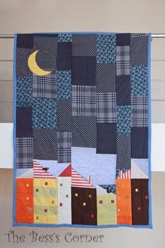 Contemporary Patchwork Quilt - Night Landscape. So Cool!