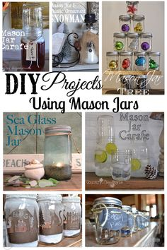 Easy to find DIY by material used in making projects!  This group of DIY projects used mason jars.  Country Design Style