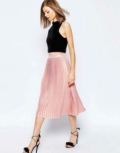 d5b9830a3e Pink Skirt Outfits, Midi Skirt Outfit, Spring Outfits, Pleated Midi Skirt,  Midi
