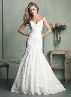 Wedding Dresses - $235.48 - Trumpet/Mermaid Off-the-Shoulder Chapel Train Satin Lace Wedding Dress With Beading (0025056479)