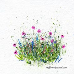 Use Markers to add flowers to a splattered paint background-myflowerjournal