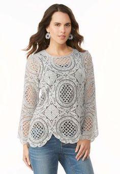 Cato Fashions Scalloped Medallion Crochet Top #CatoFashions