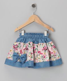 Light Pink Denim Floral Skirt - Toddler & Girls