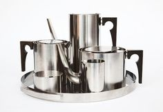 Arne Jacobsen stainless steel coffee and tea set for Cylinda,...