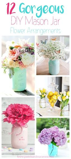 Create simple and beautiful flower arrangements with mason jars to decorate your next dinner party, home or wedding center pieces. Find great ideas here.