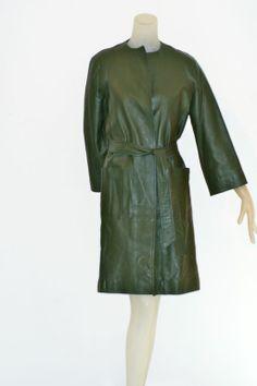 1970s Halston Green Leather Wrap Coat image 4