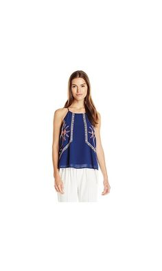 7d89667d560c Blu Pepper Women s Navy Woven Top with Spaghetti Straps and Neon Embroidery  at Amazon Women s Clothing store