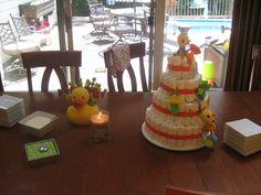 Ducky diaper cake Baby Shower, Cake, Food, Baby Sprinkle Shower, Pie Cake, Pastel, Meal, Baby Sprinkle, Eten