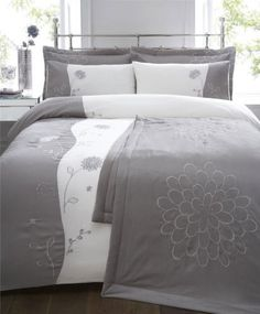 0bb8785b4a3 6 PIECE KING SIZE BED SET - SILVER GREY DUVET COVER   BEDSPREAD THROW
