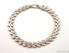 Vtg MILOR Sterling Silver Bracelet 925 Chevron Style Link 925  Made in Italy #Milor #Chain