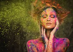Muse with creative body art. Young woman muse with creative body art and hairdo ,