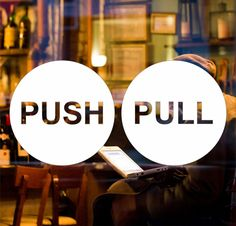 PULL PUSH Door 6cm Sticker Shop Window Cafe Pub Office Vinyl Sign