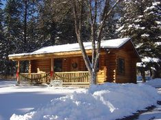 log cabin in woods and snow - Google Search