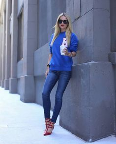 blue skinny jeans style blogger - A/P