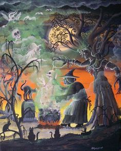 "Folk Art HALLOWEEN Witch PRINT ""Ghostly Spells"" Cauldron Cat Witch Byrum"