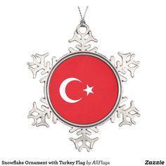 Shop Snowflake Ornament with Turkey Flag created by AllFlags. Snowflake Ornaments, Ball Ornaments, Snowflakes, Wedding Color Schemes, Wedding Colors, Turkey Flag, Elegant Christmas Trees, Family Memories