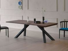 Buy online Gustave plus By miniforms, extending wooden table design Paolo Cappello Metal Table Legs, Dining Table Legs, Wooden Dining Tables, Dining Table Design, Contemporary Dining Room Furniture, Metal Furniture, Dining Furniture, Office Furniture, Mesa Metal