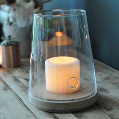 Oak and Glass Hurricane Lantern from Homebarn