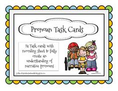 Free task cards to use as a review for common narrative pronouns, he, she, him, her, they, them, I etc. These can be used as a center activity or for independent work.