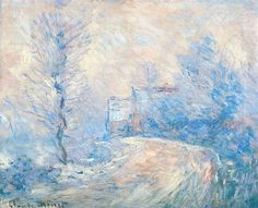 The Entrance to Giverny under the Snow, 1885 by Claude Monet. Impressionism. landscape