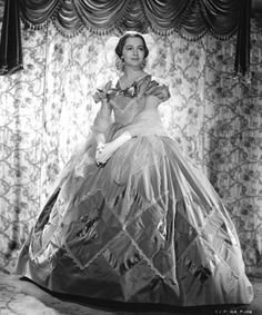 Olivia De Havilland in Walter Plunkett gown for Gone with the Wind