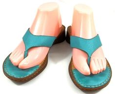 Born Shoes Womens Size 8 M Blue Leather Slide On Clog Strappy Sandals #Brn #Strappy