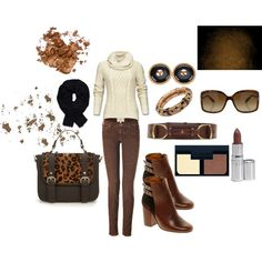 """Browns and Cream with Basic Black"" by martha-hill-carter on Polyvore"