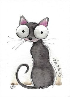 ACEO Original watercolor fine art painting illustration whimsical Bombay Cat #IllustrationArt