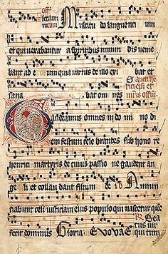 an illuminated  music sheet of a gregorian chant. would have been performed by monks
