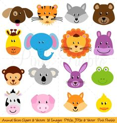 Animal Faces Clipart Clip Art, Zoo Jungle Farm Barnyard Forest Woodland Animal Clipart Clip Art - Commercial and Personal Use by PinkPueblo on Etsy Woodland Animals, Zoo Animals, Cute Animals, Adobe Illustrator, Animal Faces, Stock Foto, Graphic Illustration, Illustrations, Art Images