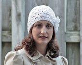 Adult Crochet Beanie Hat - Flower applique, White Chunky beanie for women. $23.00, via Etsy.
