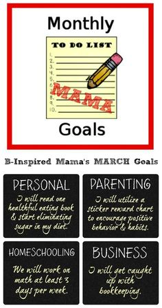March Goals for Parenting, Homeschooling, Business, and Personal - Monthly Mama Goals at B-Inspired Mama - #moms #motherhood #parenting #goals #binspiredmama #kbn
