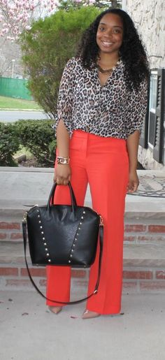 Style & Poise-Leopard and Orange  I LOVE THIS LOOK!  recreate with brown or navy