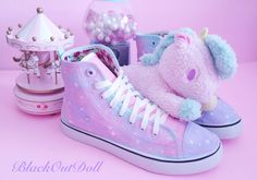 Pastel Galaxy Harajuku Sneakers Fairy Kei by BlackOutDoll.deviantart.com on @DeviantArt