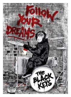INSIDE THE ROCK POSTER FRAME BLOG: Mr Brainwash The Black Keys Poster from Los Angles again tonight...