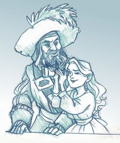 Barbossa and his daughter Carina