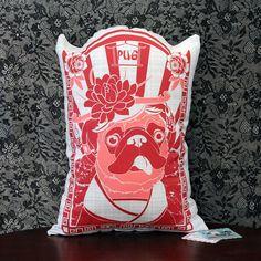 Fab.com | Pug Pillow Red Girl