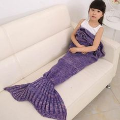 """""""Little Mermaid Tail"""" Knitted Blanket (9 Colors)"""