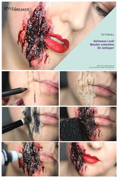 Wound make-up for beginners! Are you still looking for a fast but impressive Halloween look? Sfx Makeup, Makeup Tips, Halloween Looks, Halloween Face Makeup, Horror Make-up, Beauty Box, Good Skin, Make Up, Creative